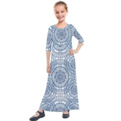 Boho Pattern Style Graphic Vector Kids  Quarter Sleeve Maxi Dress by Sobalvarro