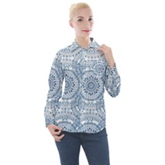 Boho Pattern Style Graphic Vector Women s Long Sleeve Pocket Shirt by Sobalvarro