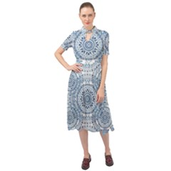 Boho Pattern Style Graphic Vector Keyhole Neckline Chiffon Dress by Sobalvarro