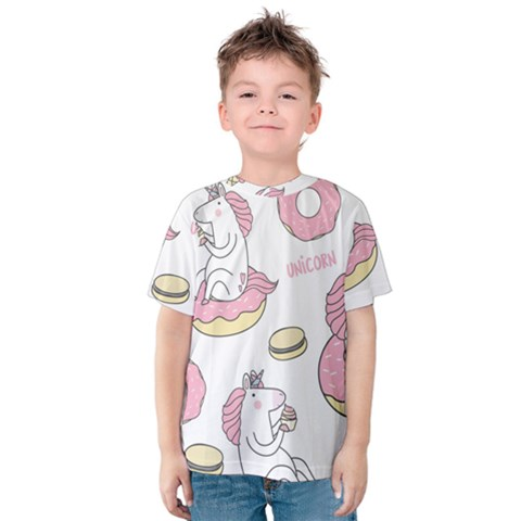 Unicorn Seamless Pattern Background Vector (1) Kids  Cotton Tee by Sobalvarro