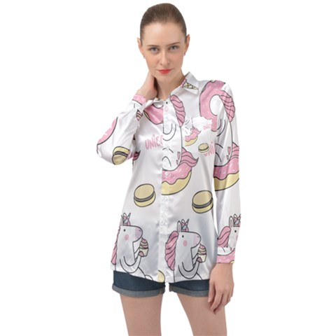 Unicorn Seamless Pattern Background Vector (1) Long Sleeve Satin Shirt by Sobalvarro