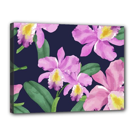 Vector Hand Drawn Orchid Flower Pattern Canvas 16  X 12  (stretched) by Sobalvarro