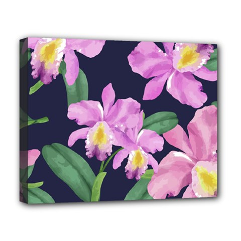 Vector Hand Drawn Orchid Flower Pattern Deluxe Canvas 20  X 16  (stretched) by Sobalvarro