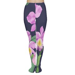 Vector Hand Drawn Orchid Flower Pattern Tights by Sobalvarro
