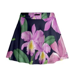 Vector Hand Drawn Orchid Flower Pattern Mini Flare Skirt by Sobalvarro