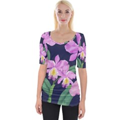 Vector Hand Drawn Orchid Flower Pattern Wide Neckline Tee by Sobalvarro