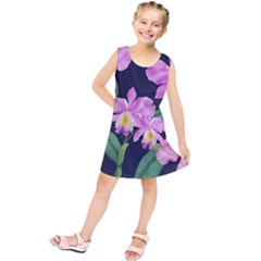Vector Hand Drawn Orchid Flower Pattern Kids  Tunic Dress by Sobalvarro