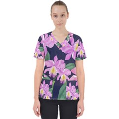 Vector Hand Drawn Orchid Flower Pattern Women s V-neck Scrub Top by Sobalvarro