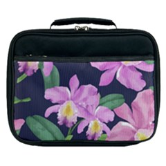 Vector Hand Drawn Orchid Flower Pattern Lunch Bag by Sobalvarro