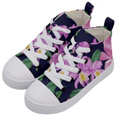 Vector Hand Drawn Orchid Flower Pattern Kids  Mid-top Canvas Sneakers by Sobalvarro