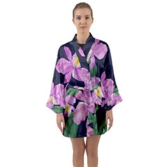 Vector Hand Drawn Orchid Flower Pattern Long Sleeve Satin Kimono by Sobalvarro