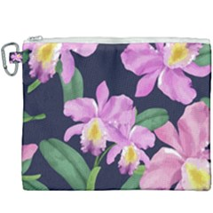 Vector Hand Drawn Orchid Flower Pattern Canvas Cosmetic Bag (xxxl) by Sobalvarro