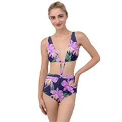 Vector Hand Drawn Orchid Flower Pattern Tied Up Two Piece Swimsuit