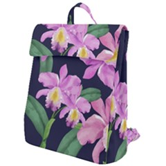 Vector Hand Drawn Orchid Flower Pattern Flap Top Backpack