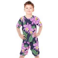 Vector Hand Drawn Orchid Flower Pattern Kids  Tee And Shorts Set by Sobalvarro