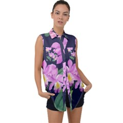 Vector Hand Drawn Orchid Flower Pattern Sleeveless Chiffon Button Shirt