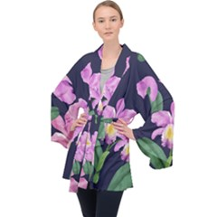 Vector Hand Drawn Orchid Flower Pattern Long Sleeve Velvet Kimono