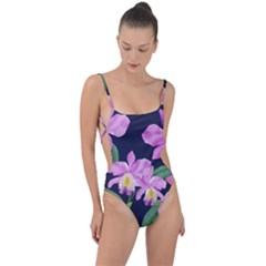 Vector Hand Drawn Orchid Flower Pattern Tie Strap One Piece Swimsuit