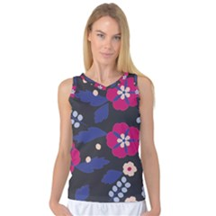 Vector Seamless Flower And Leaves Pattern Women s Basketball Tank Top