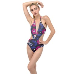 Vector Seamless Flower And Leaves Pattern Plunging Cut Out Swimsuit