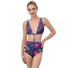 Vector Seamless Flower And Leaves Pattern Tied Up Two Piece Swimsuit