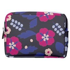 Vector Seamless Flower And Leaves Pattern Make Up Pouch (medium)