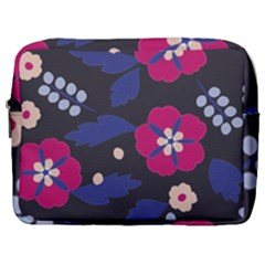 Vector Seamless Flower And Leaves Pattern Make Up Pouch (large)