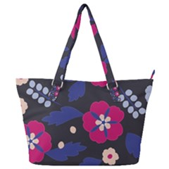 Vector Seamless Flower And Leaves Pattern Full Print Shoulder Bag by Sobalvarro