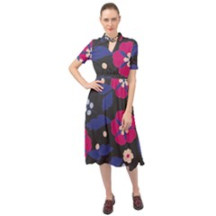 Vector Seamless Flower And Leaves Pattern Keyhole Neckline Chiffon Dress
