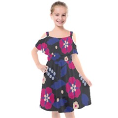 Vector Seamless Flower And Leaves Pattern Kids  Cut Out Shoulders Chiffon Dress