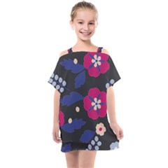 Vector Seamless Flower And Leaves Pattern Kids  One Piece Chiffon Dress by Sobalvarro