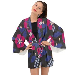 Vector Seamless Flower And Leaves Pattern Long Sleeve Kimono by Sobalvarro