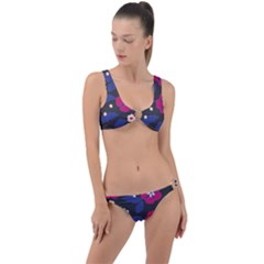 Vector Seamless Flower And Leaves Pattern Ring Detail Crop Bikini Set