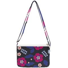 Vector Seamless Flower And Leaves Pattern Double Gusset Crossbody Bag