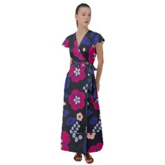 Vector Seamless Flower And Leaves Pattern Flutter Sleeve Maxi Dress