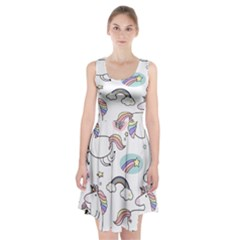 Cute Unicorns With Magical Elements Vector Racerback Midi Dress