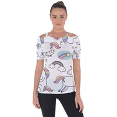 Cute Unicorns With Magical Elements Vector Shoulder Cut Out Short Sleeve Top