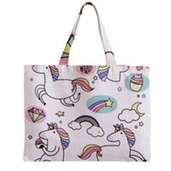 Cute Unicorns With Magical Elements Vector Zipper Medium Tote Bag by Sobalvarro