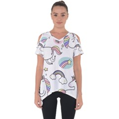 Cute Unicorns With Magical Elements Vector Cut Out Side Drop Tee