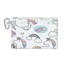 Cute Unicorns With Magical Elements Vector Canvas Cosmetic Bag (medium) by Sobalvarro