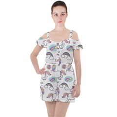 Cute Unicorns With Magical Elements Vector Ruffle Cut Out Chiffon Playsuit by Sobalvarro