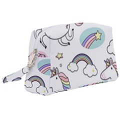 Cute Unicorns With Magical Elements Vector Wristlet Pouch Bag (large) by Sobalvarro