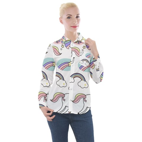 Cute Unicorns With Magical Elements Vector Women s Long Sleeve Pocket Shirt by Sobalvarro