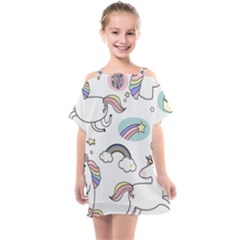 Cute Unicorns With Magical Elements Vector Kids  One Piece Chiffon Dress by Sobalvarro