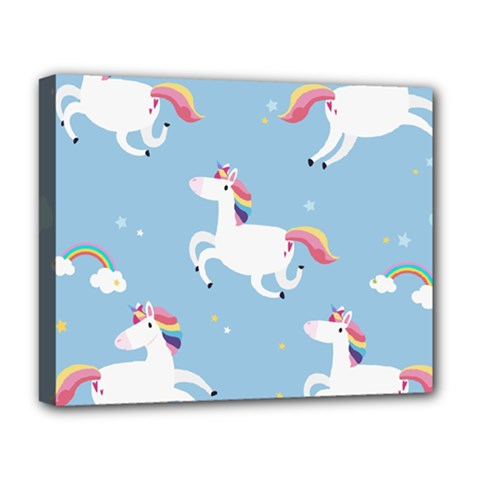 Unicorn Seamless Pattern Background Vector (2) Deluxe Canvas 20  X 16  (stretched) by Sobalvarro
