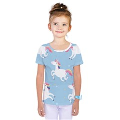 Unicorn Seamless Pattern Background Vector (2) Kids  One Piece Tee