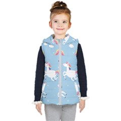 Unicorn Seamless Pattern Background Vector (2) Kids  Hooded Puffer Vest by Sobalvarro
