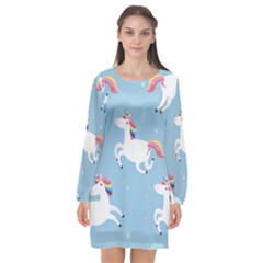 Unicorn Seamless Pattern Background Vector (2) Long Sleeve Chiffon Shift Dress  by Sobalvarro