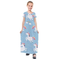 Unicorn Seamless Pattern Background Vector (2) Kids  Short Sleeve Maxi Dress