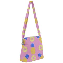 Pop Art Pineapple Seamless Pattern Vector Zipper Messenger Bag